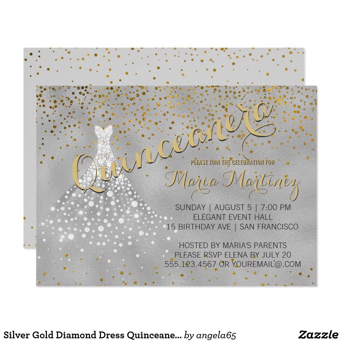 Silver Gold Diamond Dress Quinceanera Invitation Birthday Sweet