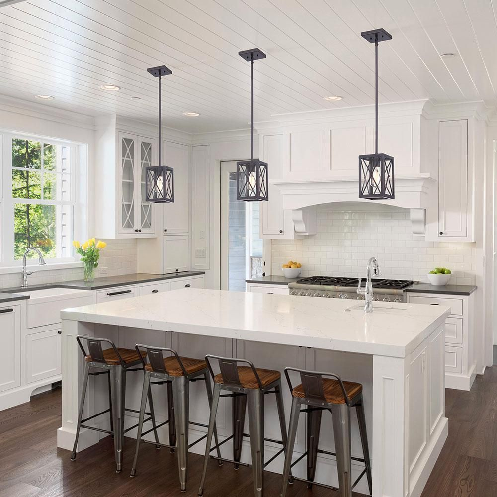 Home Decorators Collection Harwood 1 Light Royal Bronze Mini Pendant With Cage Design Shade Hb3533 281 The Home Depot Contemporary Kitchen Farmhouse Kitchen Island Modern Farmhouse Kitchens