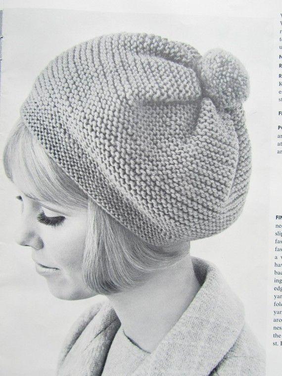 Knitted Hat Pattern 1960\'s Vintage Hat by vintageknitcrochet, $3.00 ...