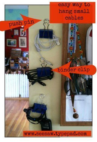 Push Pin Cable Organization - 150 Dollar Store Organizing Ideas and Projects for the Entire Home