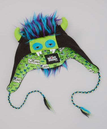 Another great find on #zulily! Black & Green Zeppelin Monster Earflap Beanie by Beasty Buddies #zulilyfinds