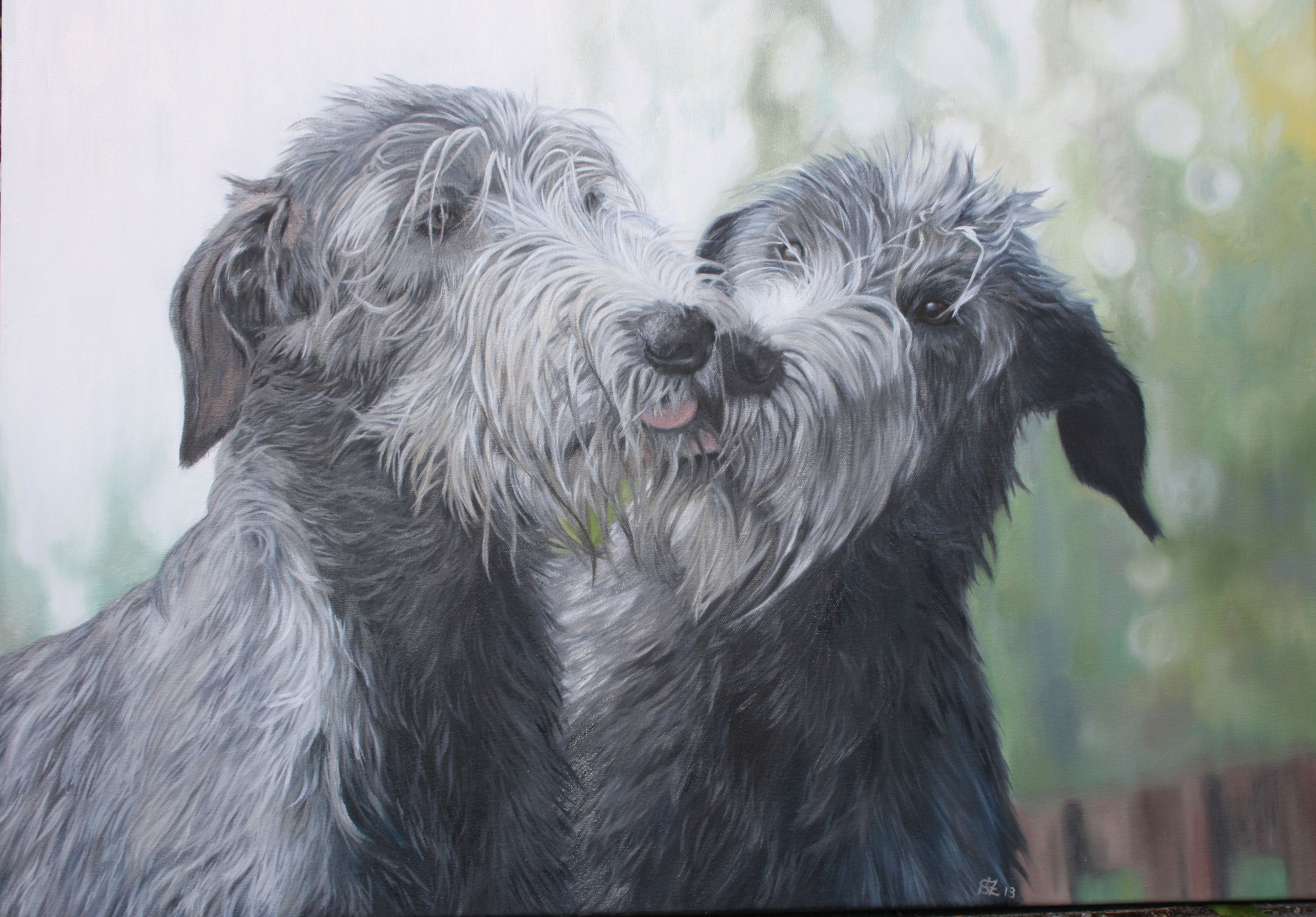 Custom pet portrait / Irish Wolfhounds / Oil Painting 23,6