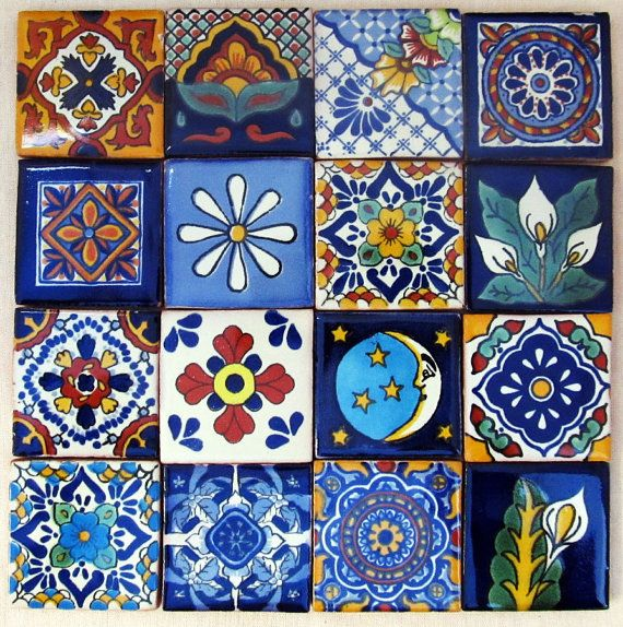 16 Pcs Mexican Tile Talavera Handmade 2x2 Mosaic Craft Tiles Construction Tribal Magnet 01