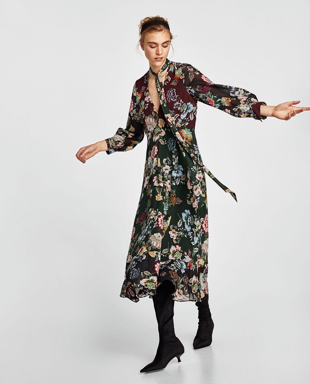 Long Waist Dress Image Printed Zara Empire From 1 Of Flowing n8wXON0Pk