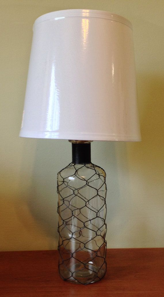 Glass Bottle Wrapped In Chicken Wire Table Lamp Desk Lamp Glass Bottle Wire Wrapped Bottle Metal Indian Inspired Lamp Table Lamp White Lamp Shade Glass Bottles