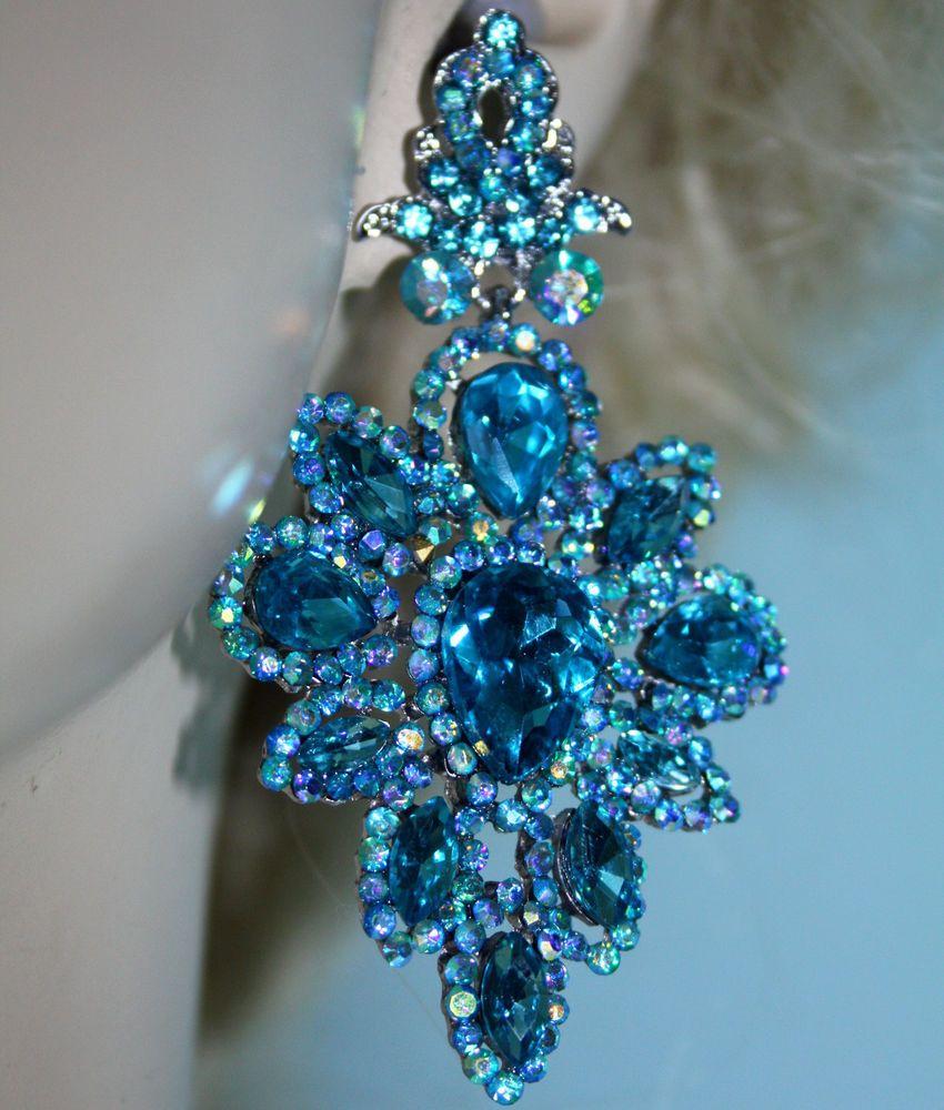 Austrian Crystal Chandelier Earrings Rhinestone Bridal Prom Pageant 3 Inch  Aqua