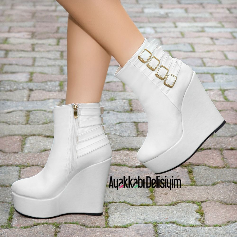 279f1f331a0 Lazila Beyaz Dolgu Topuk Bot  wedding  shoes  bootie