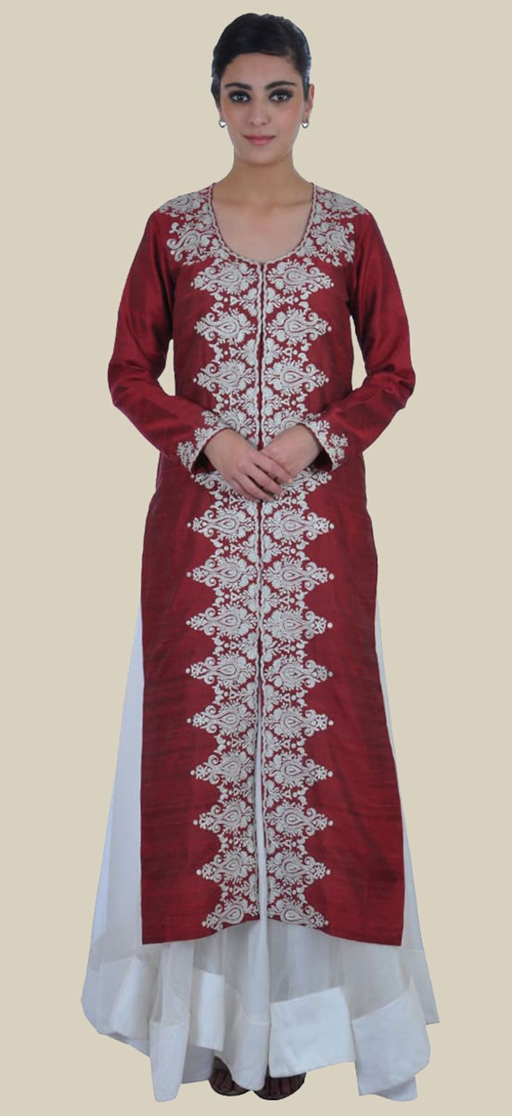 Tilla Embroidered Maroon Pure Raw Silk Jacket