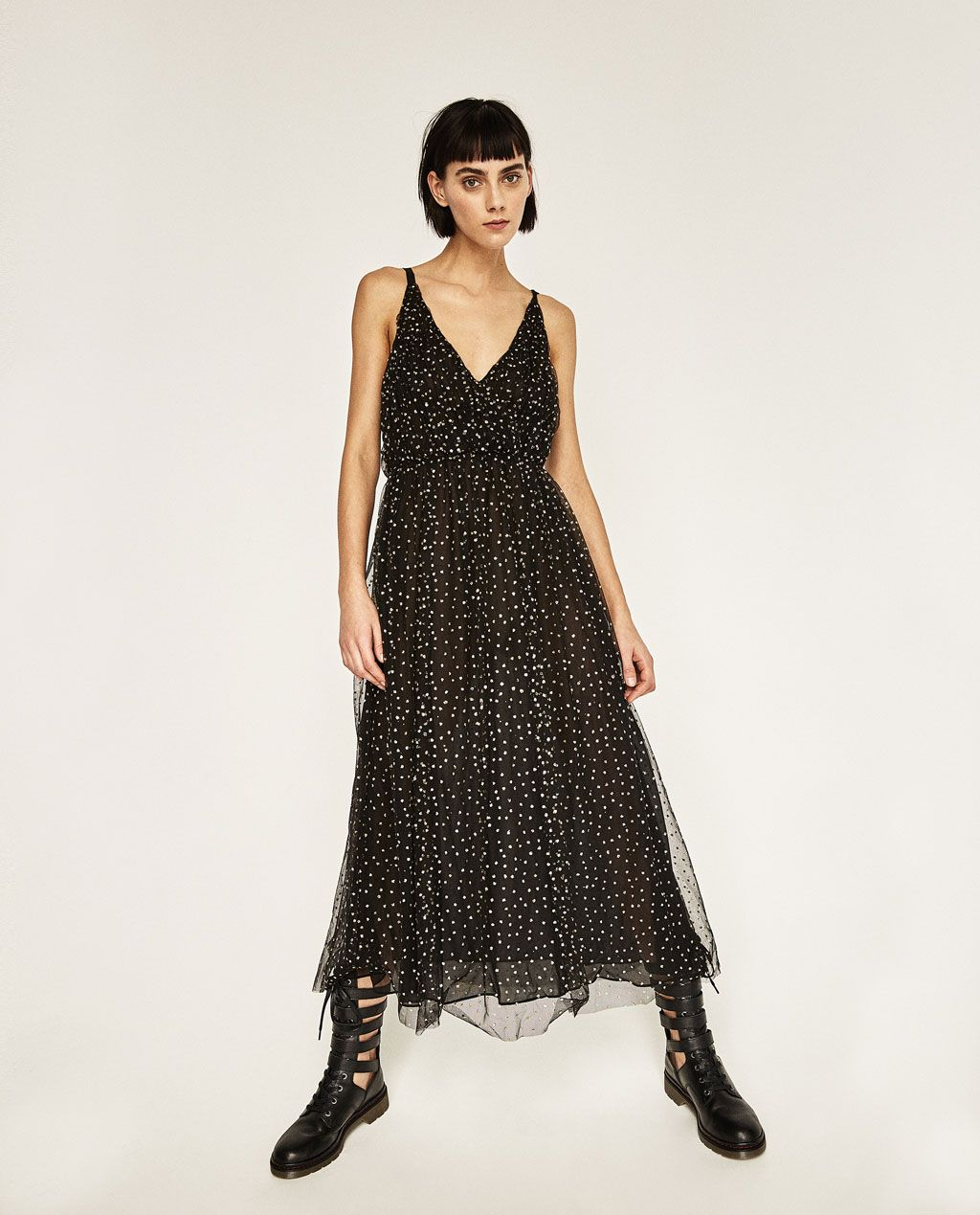 LONG TULLE DRESS WITH POLKA DOTS | одежда, винтаж | Pinterest
