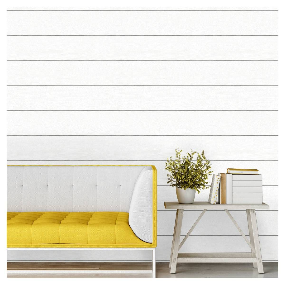 Textured Shiplap Peel & Stick Wallpaper White Threshold