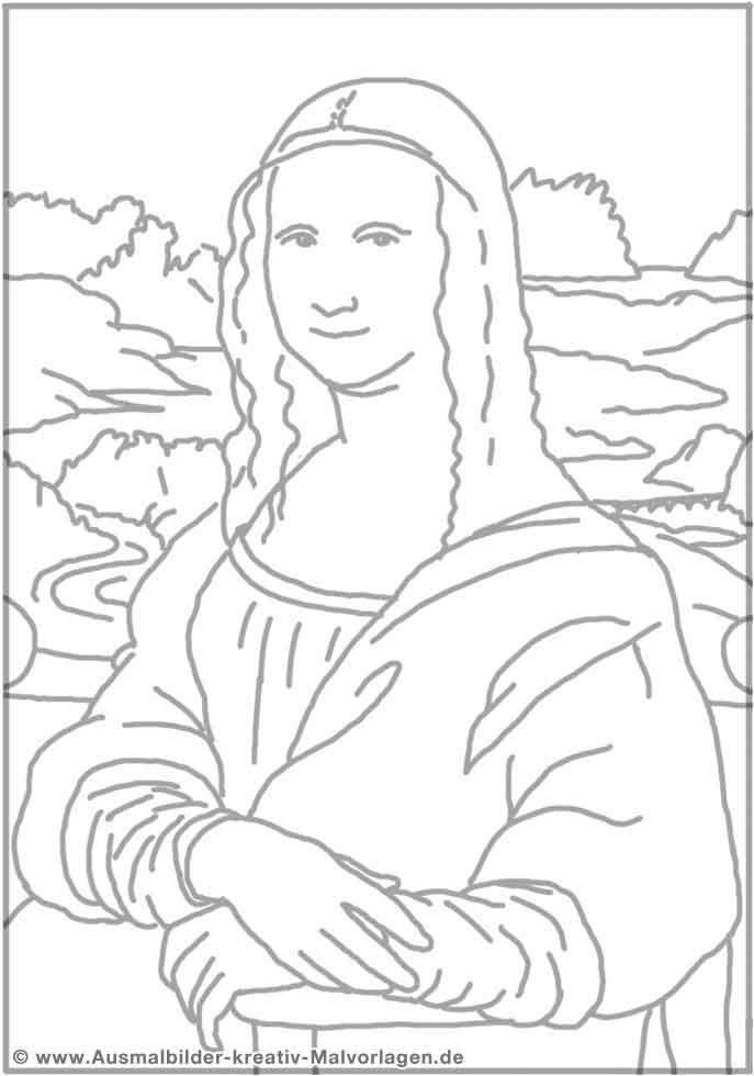 Mona Lisa Coloring | MonaLisa | Mona lisa, Kunst bilder ...