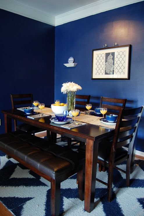Glidden s rich navy color matched to behr premium plus for Dining room navy blue