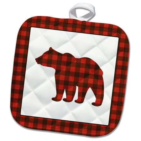 3dRose Buffalo Plaid Bear - Pot Holder, 8 by 8-inch, White