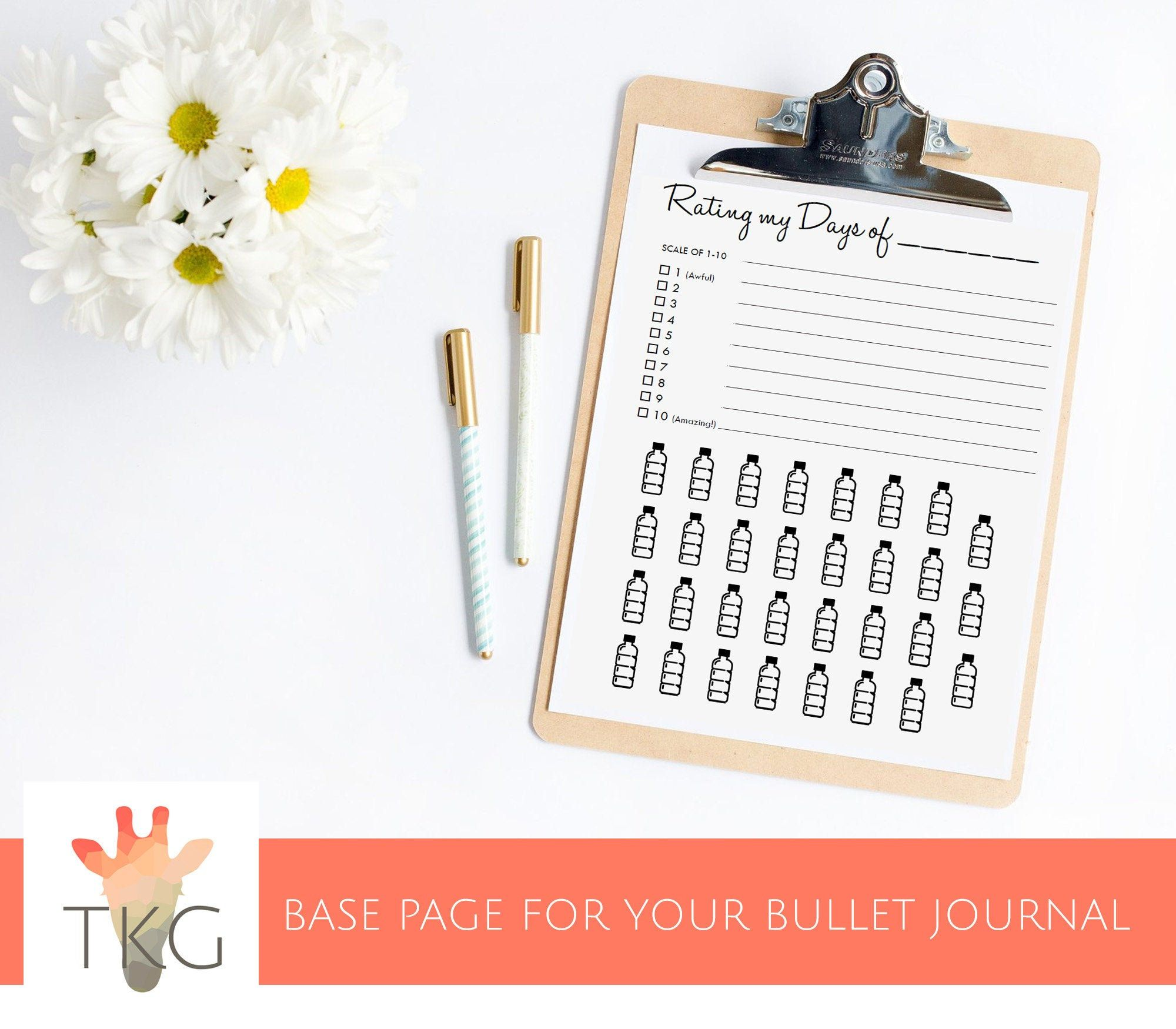 Monthly - Water bottles - Rate My Day - Bullet Journal Mood and Water Tracker Page Download - Colorable