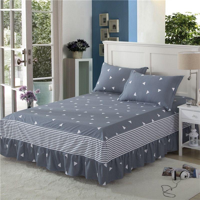 100 Cotton Bedspreads Geometric Pattern Bed Skirt Ruffled