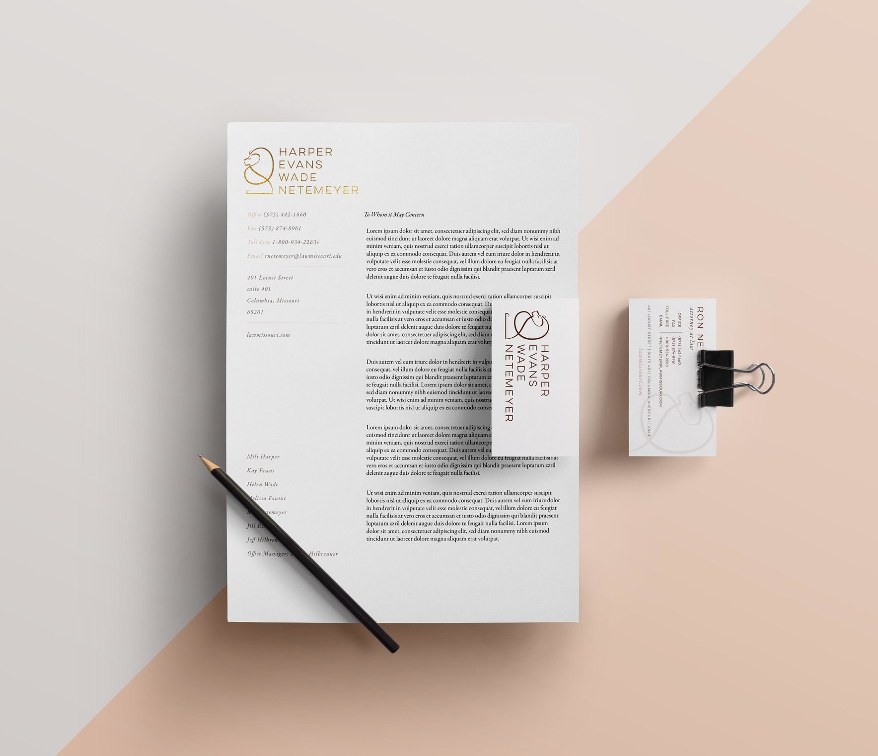 Harper Evans Wade & Netemeyer law firm letterhead and business ...