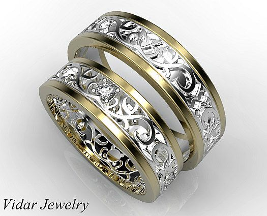 his ans her matching wedding band setdiamond wedding band setunique matching wedding - Wedding Ring Bands For Her
