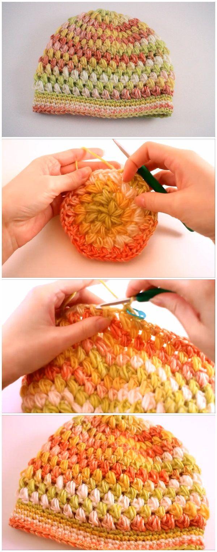 Free Puff Stitch Hat Pattern   Crochet   Pinterest   Gorros ...