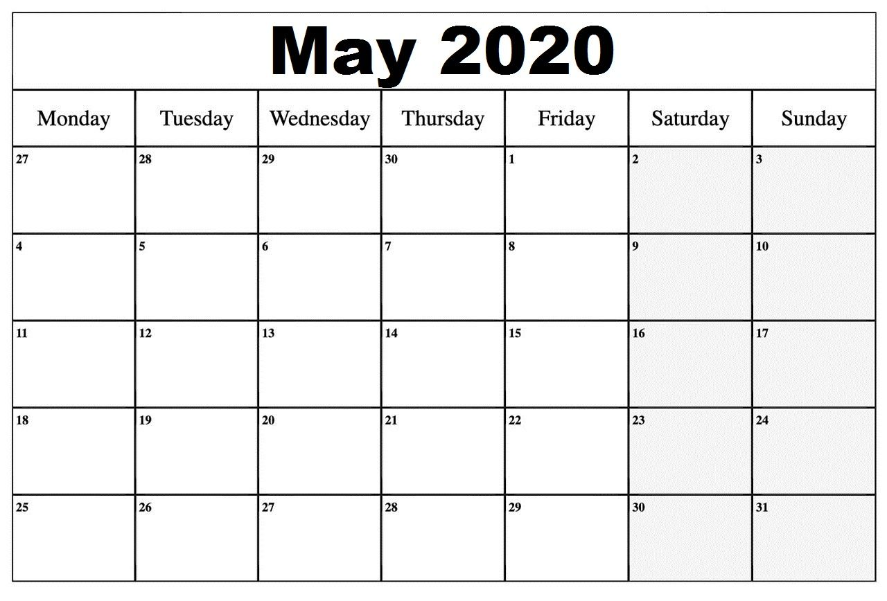 Do Some Physical Activity Printable Calendar 2020 May 2020