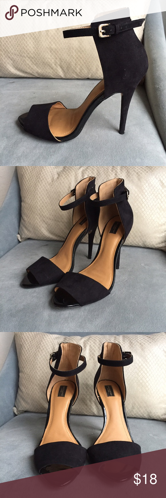 Zara Black Suede Heels Only worn once. Like new condition. Size 38 in euro sizing. Fits more like a 7.5. Zara Shoes Heels