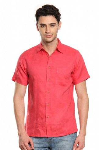 aa00e440b0a Buy Men Red Linen Half Sleeves Shirt Online at Best Price India ...