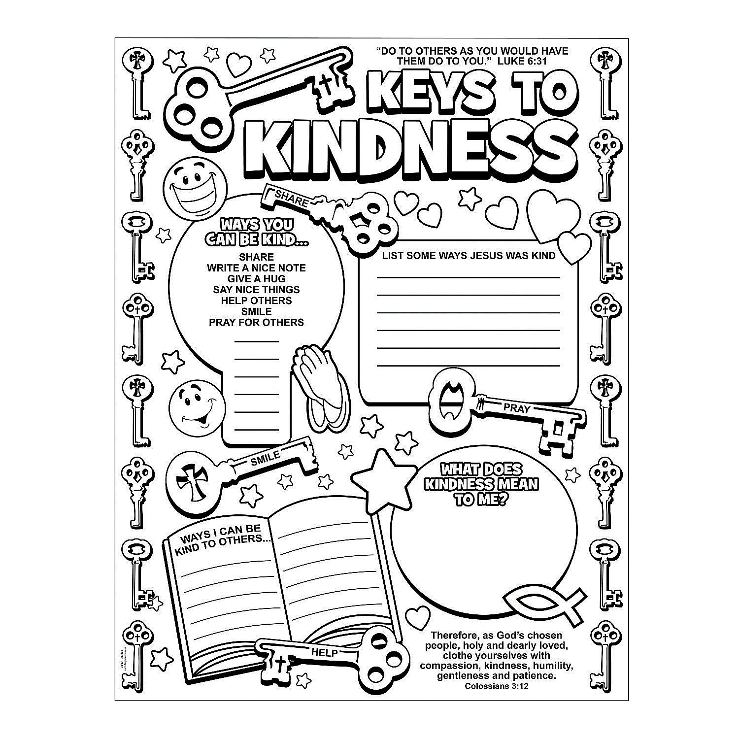 Color Your Own Key To Kindness Posters Orientaltrading
