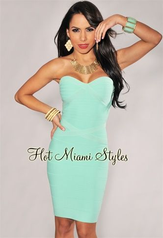 Mint Strapless Knee Length Bandage Dress