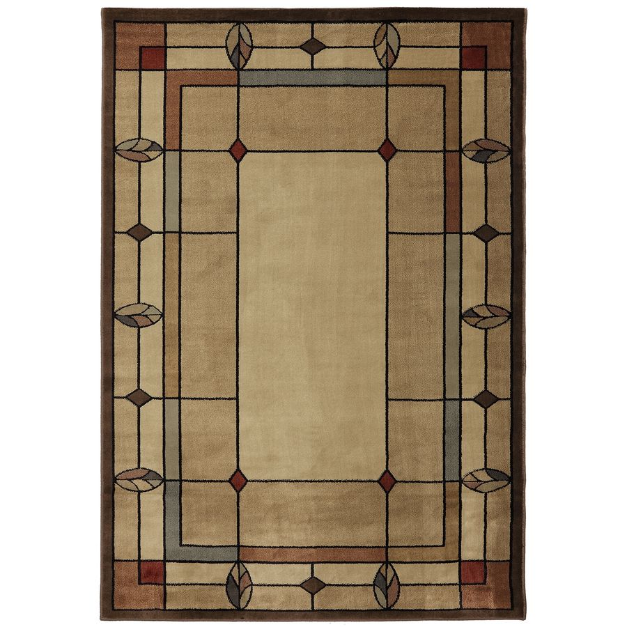 Room Mohawk Home Leaf Point Brown Rectangular Indoor Woven Area Rug Common 8 X 10