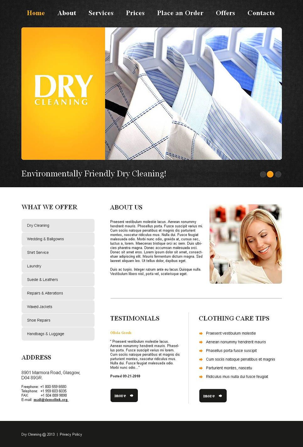 Laundry Moto CMS HTML Template, Moto Laundry CMS