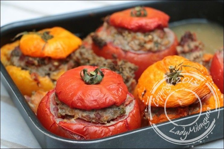 Tomates farcies à l'agneau et aubergine | Recette ...
