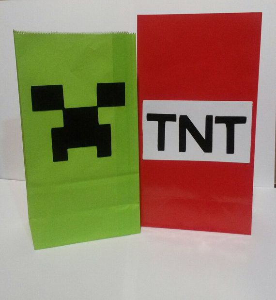 Add To Your Mindcraft Theme Party With These Handmade Treat Bags They Are Sure