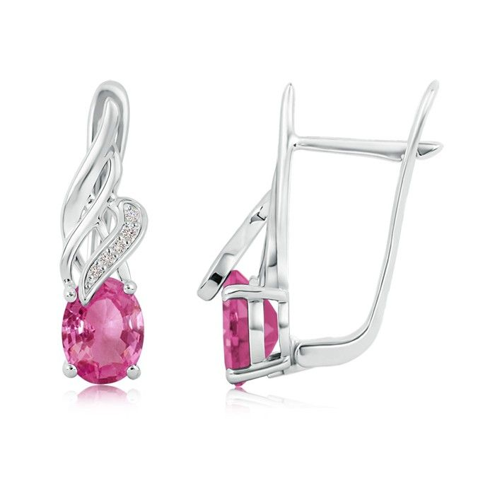 Angara Vintage Pink Sapphire Earrings in Yellow Gold ILA6T29yDV