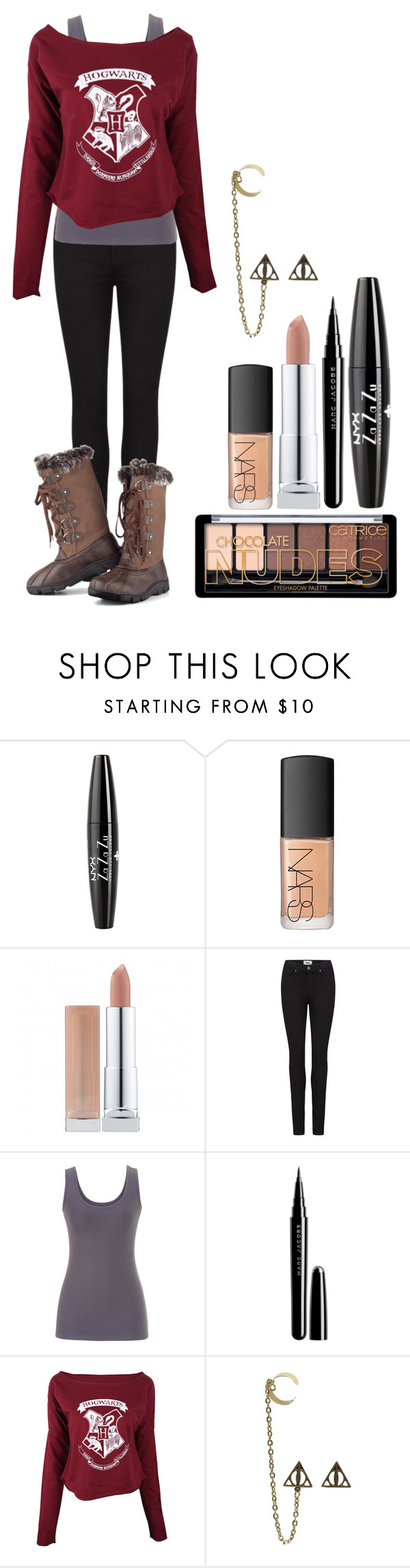 """""""Hogwarts"""" by fairytale-reality ❤ liked on Polyvore featuring NYX, NARS Cosmetics, Paige Denim, maurices, Marc Jacobs and Chase & Chloe"""
