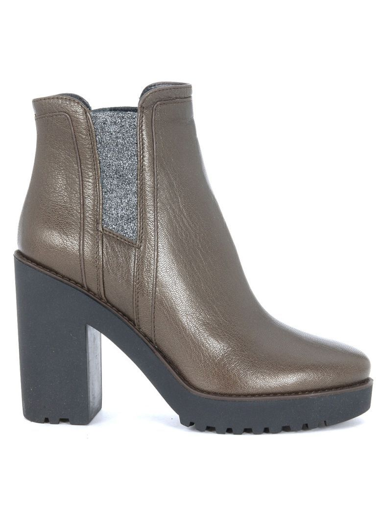 Hogan Route 275 brown leather ankle boots women's High Boots in Very Cheap Cheap Online 9K5crH6G