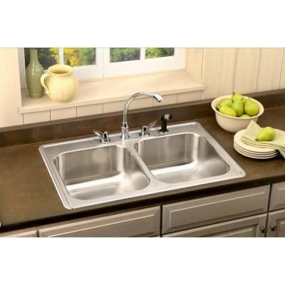 Elkay, Neptune Drop-in Stainless Steel 33 in. 4-Hole Double Bowl ...