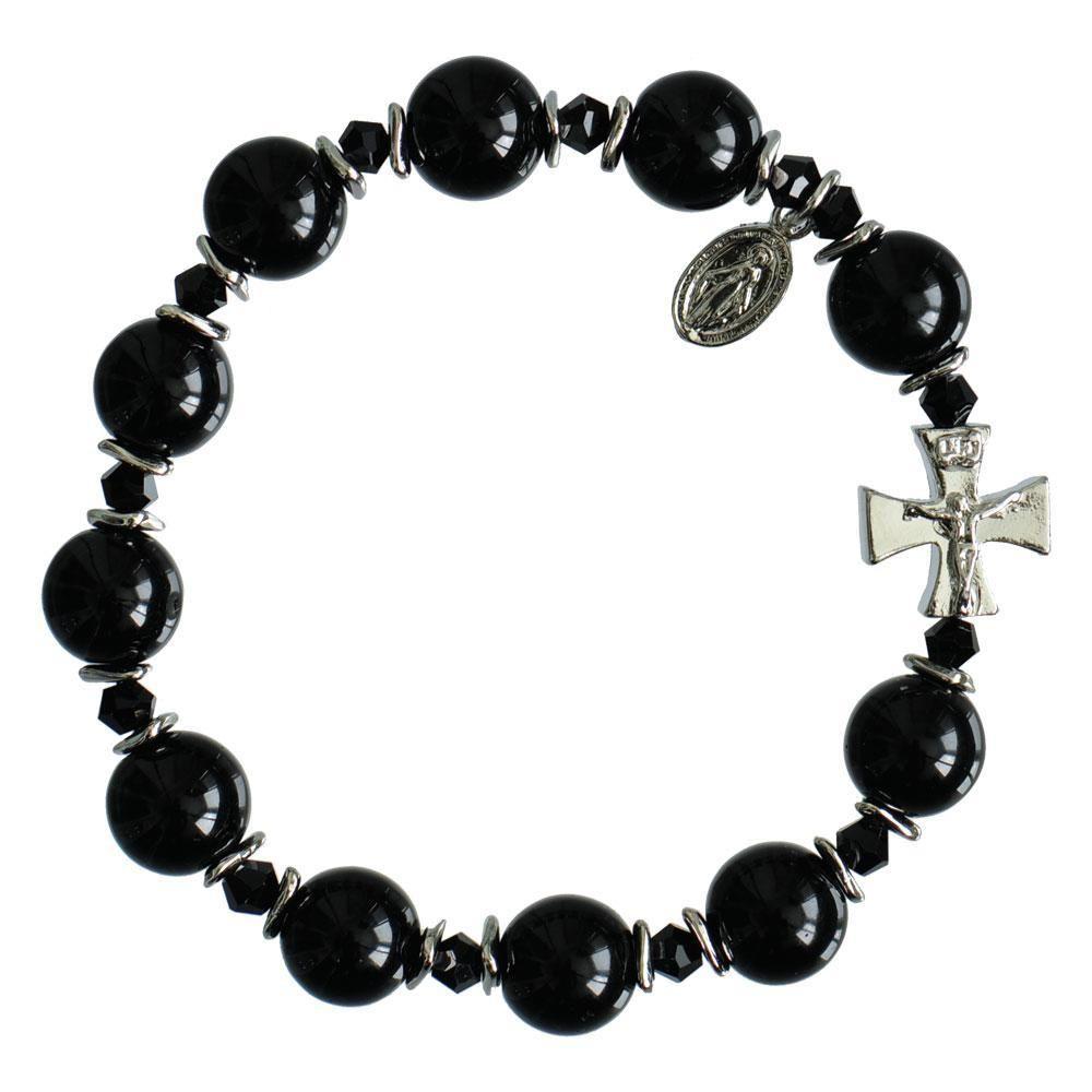 Genuine Black Onyx Rosary Bracelet (10mm) #rosaryjewelry