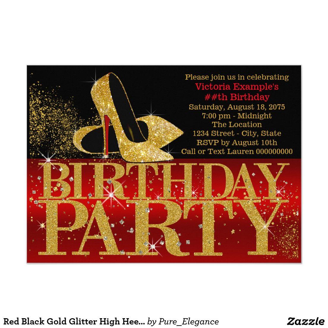 Red Black Gold Glitter High Heel Birthday Party 4.5x6.25 Paper ...