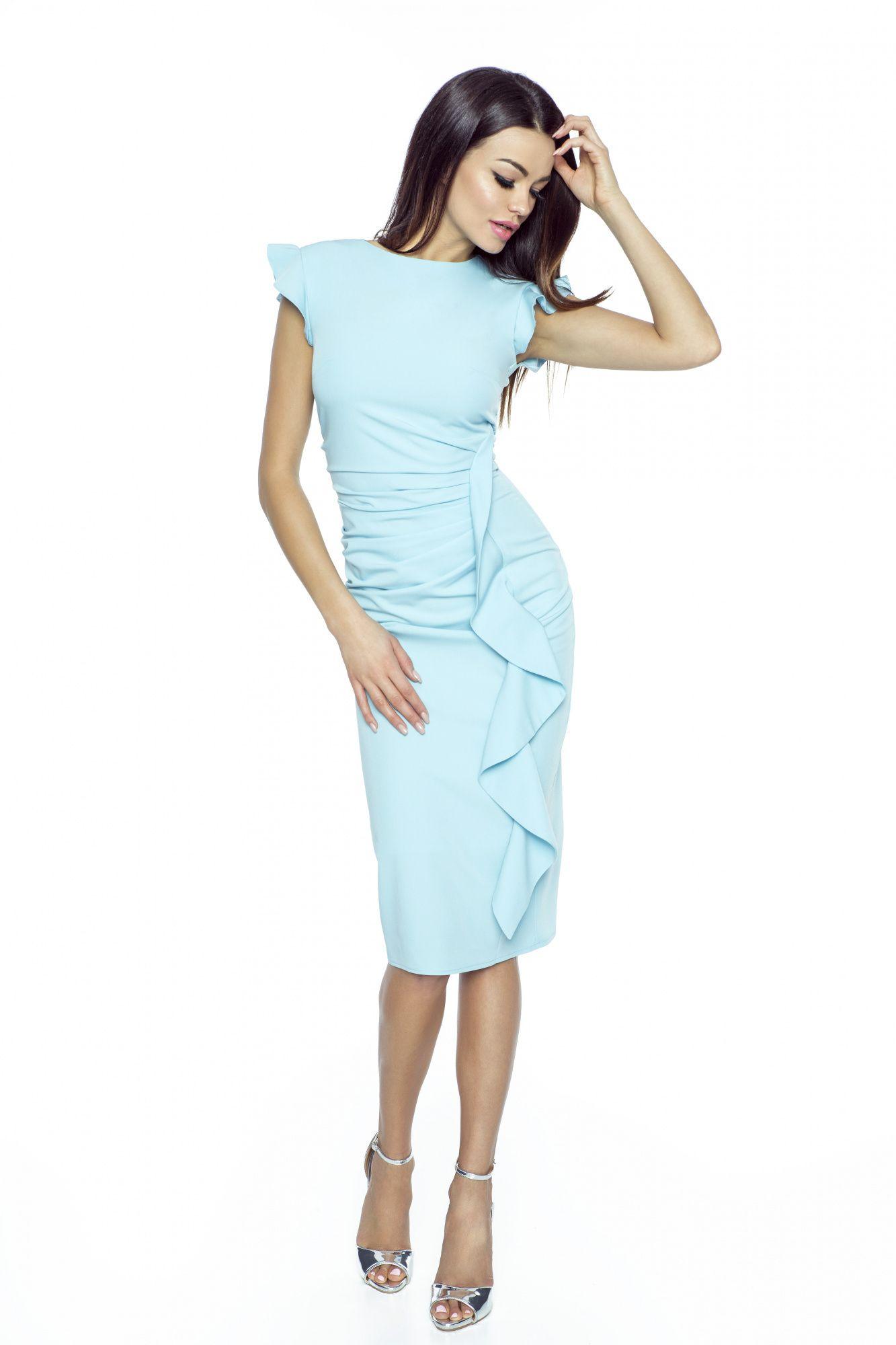 5e201be21b Wizytowa sukienka z falbaną na wesele Km66-5