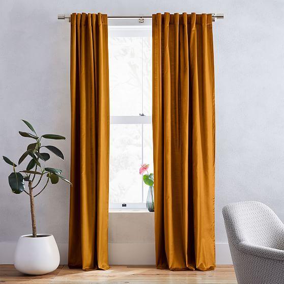 Cotton Luster Velvet Curtain - Golden Oak