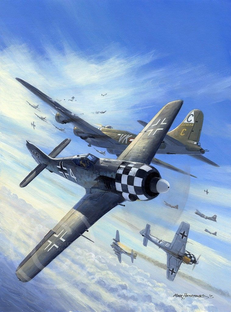 German Checker Nosed Fw190 Vs American B 17 Heavy Bombers Aviation Art Wwii Fighter Planes Wwii Plane Art