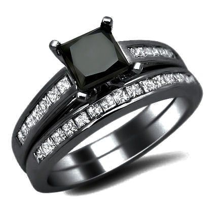 20ct black princess cut diamond engagement ring wedding set 14k black gold - Black And White Wedding Rings