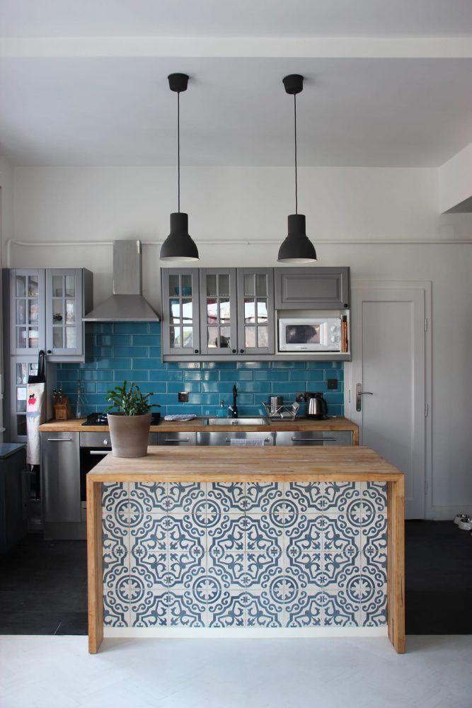 Kitchen Island With Miriam Cement Tiles Marrakesh Cement Tiles - Tiled kitchen island