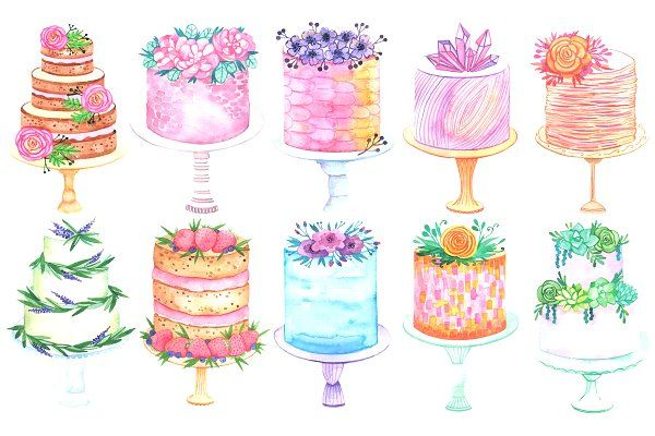 Watercolor Cake Set Illustrations Cake Drawing Wedding Cake