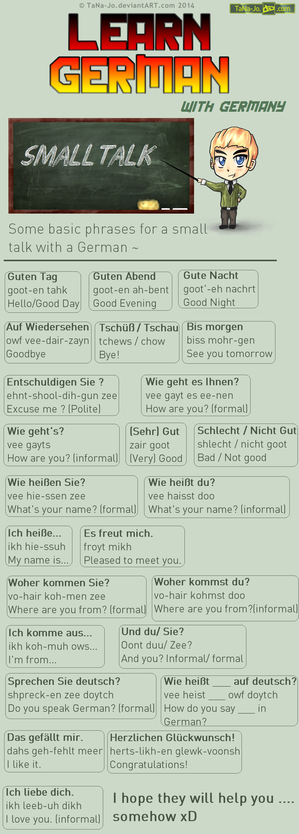 Learn German - Phrases - Talking by TaNa-Jo.deviantart.com on @DeviantArt