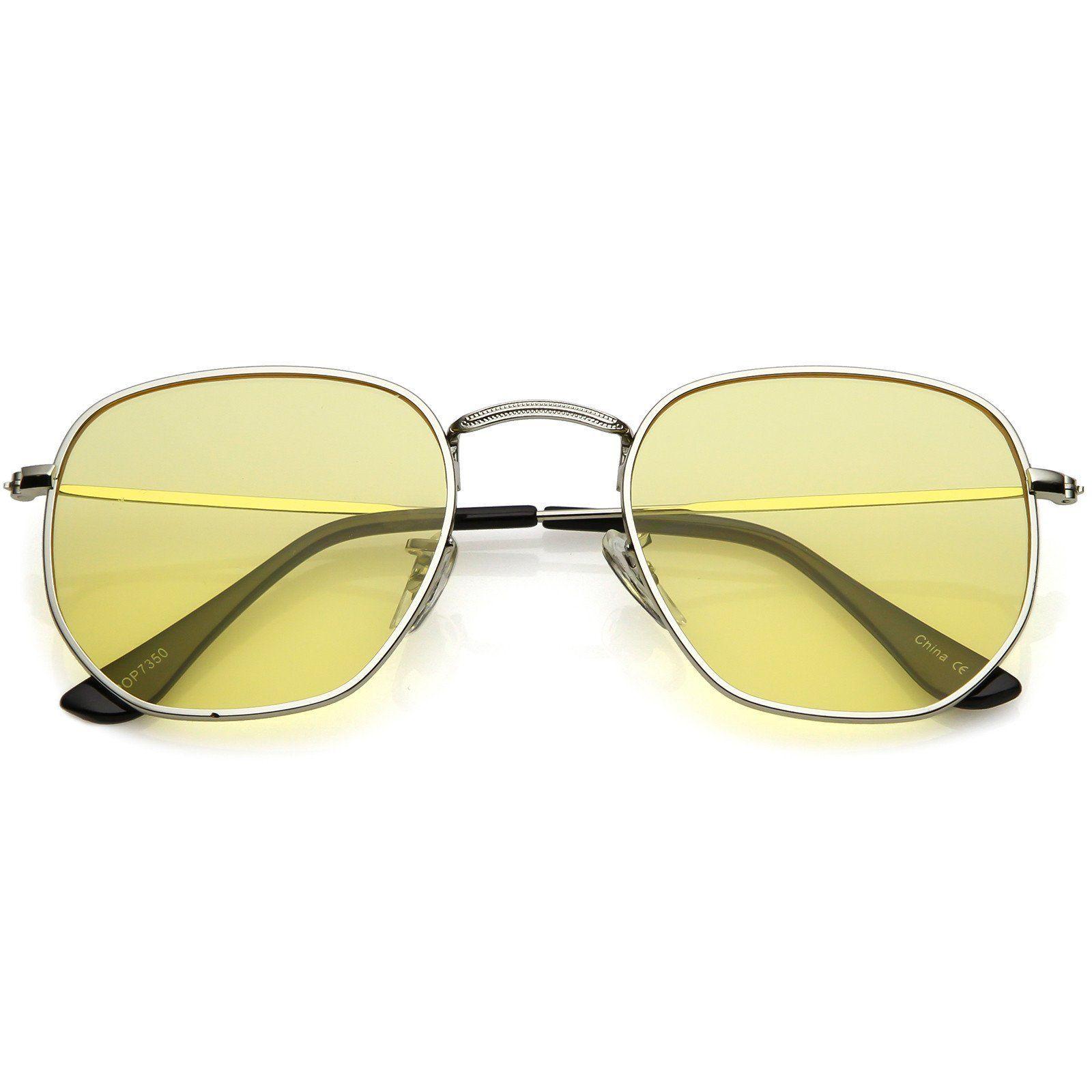 Geometric Large Aviator Sunglasses Mod Metal Frame