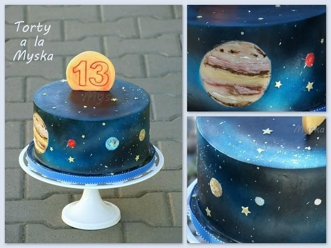 Solar system outer space cake cakes by myska for Outer space cake design