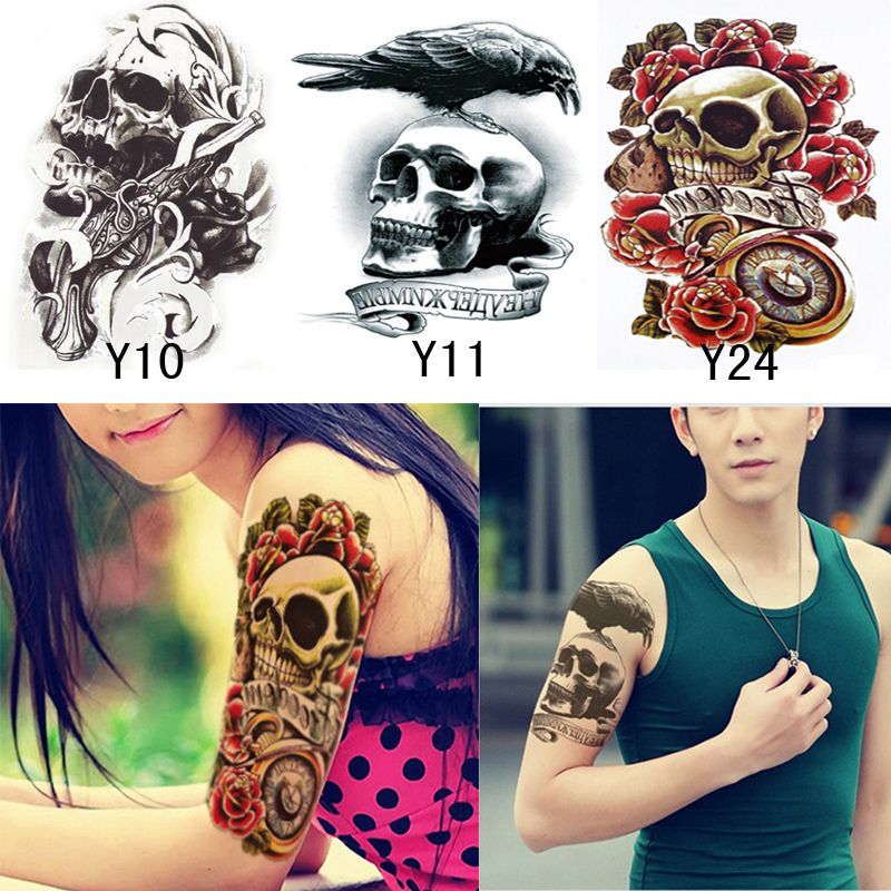 3pcs waterproof tattoo sticker cool fashion skull temporary tattoos arm leg body art fake tattoo stickers