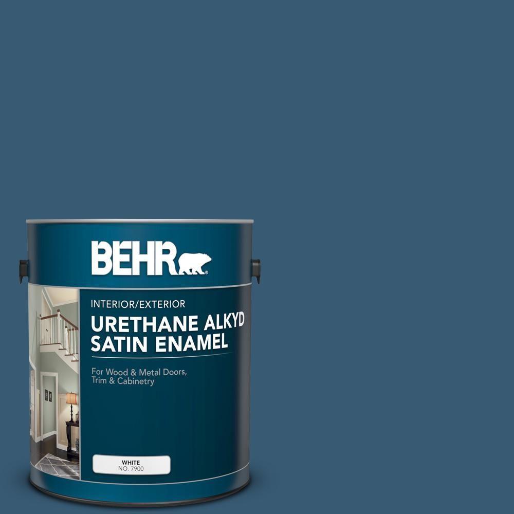 Behr 1 Gallone S490 7 Uberlegene Blaue Urethanalkyd Seidenmatte Innen Aussenlackierung 393001 The Exterior Paint Interior And Exterior Black Fence Paint