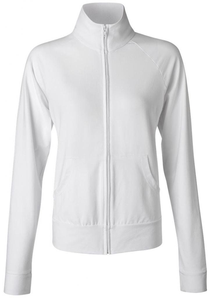 83bc77fb Yoga Clothing For You Ladies No Hood Zippered Cotton/Spandex Jacket, Small  White