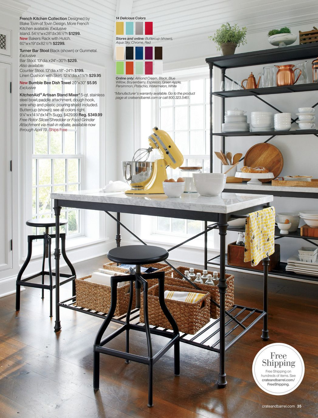 Crate Barrel Make Your House A Summer House Spring 2016 Page 34 35 Freestanding Kitchen Island Freestanding Kitchen Kitchen Design